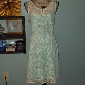 Maurices Sheer Lace Overlay Turquoise Midi Dress